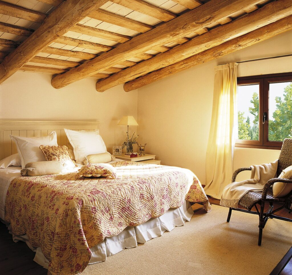 The Furniture In Raw, The Light Wood And The Patterned Buti Wood Create A  Rustic Bedroom In A Very Romantic Style.